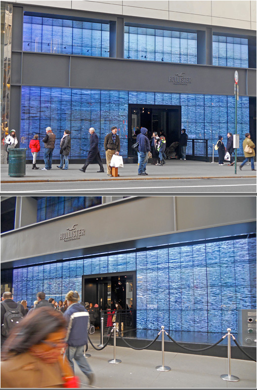 e0bfc74cdd Hollister s NYC Storefront Uses Audio Visual Projection to Make Waves on  Fifth Avenue (Digital Signage Universe)