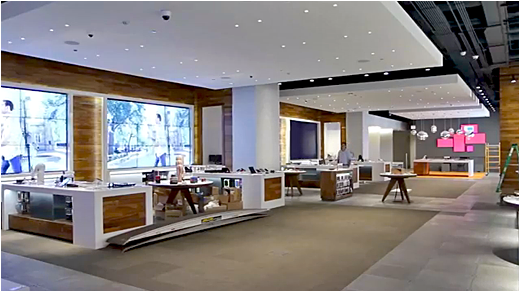 Digital Walls at&t's new chicago retail store includes interactive digital